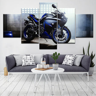 5 Panel Blazing Blue Motorcycle