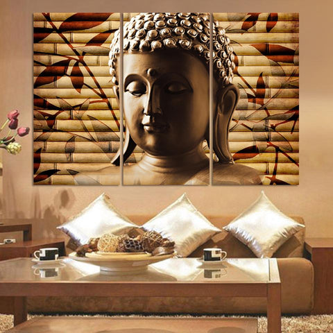 3 Piece Classical Buddha Solemn Wall Canvas
