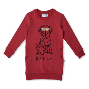 MINTI - HELLO/BYE DOG - FURRY CREW DRESS - RUBY