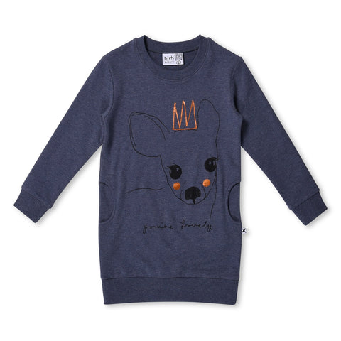 MINTI - LOVELY DEER CREW DRESS - MIDNIGHT