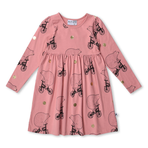 MINTI - BEARS ON BIKES DRESS - LIGHT ROSE