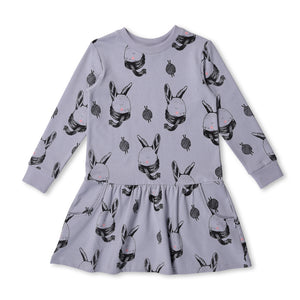 MINTI - COSY BUNNIES JUMPER DRESS - MIST