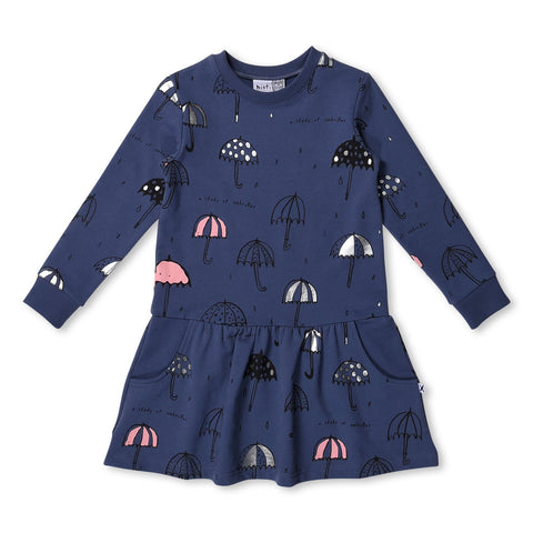 MINTI - STUDY UMBRELLAS FURRY DRESS - MIDNIGHT