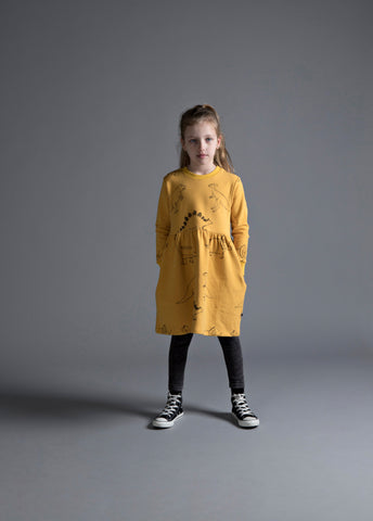 MINTI - DINOS FURRY JUMPER DRESS - MUSTARD