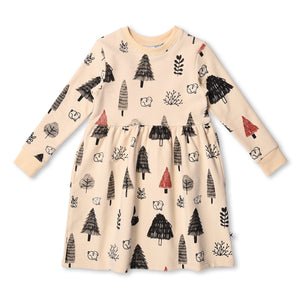 MINTI - TREES AND BUNNIES FURRY DRESS - FAWN