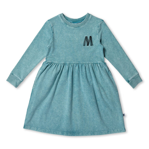 MINTI - BLASTED JUMPER DRESS - TEAL WASH
