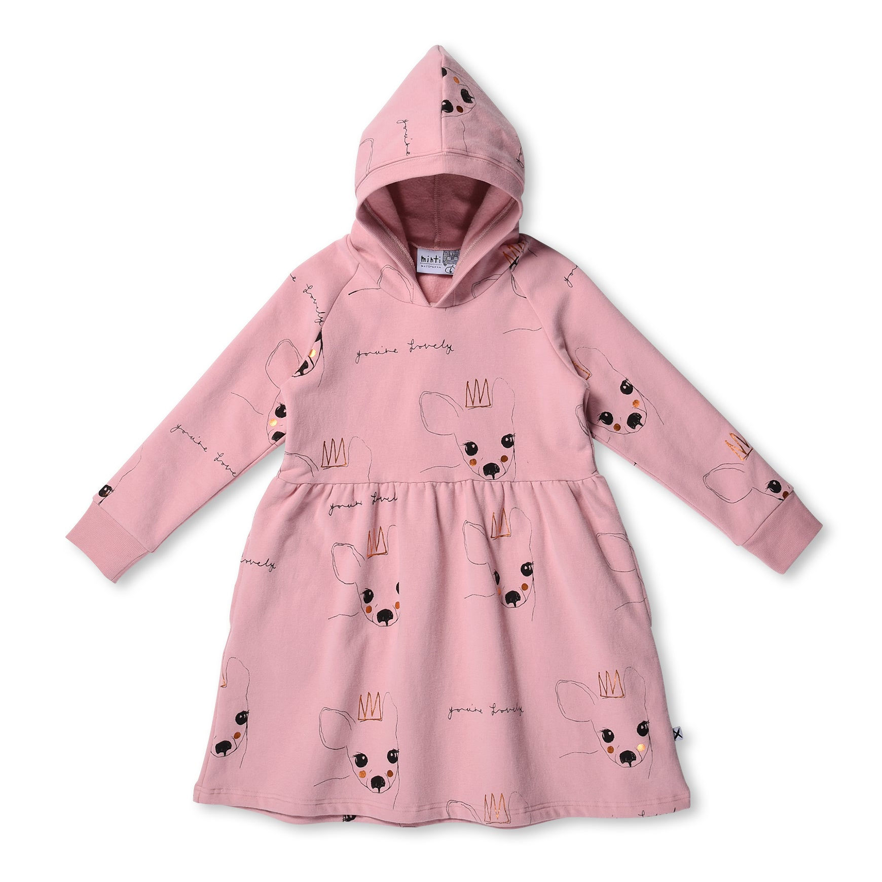 MINTI - LOVELY DEER FURRY HOODIE DRESS - MUTED PINK