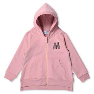 MINTI - STAPLE FURRY ZIP UP HOODIE - MUTED PINK