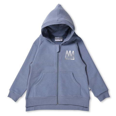MINTI - PARTY CROWN FURRY ZIP UP HOODIE - MUTED BLUE