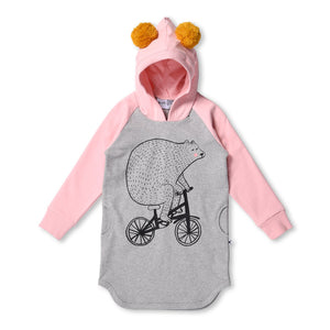 MINTI - BEAR ON A BIKE FURRY HOODIE DRESS - GREY/BALLET