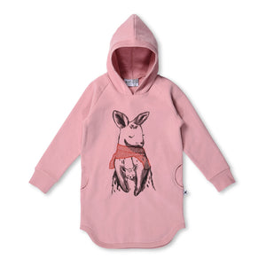 MINTI - WARM KANGAROO FURRY HOODIE DRESS - MUTED PINK