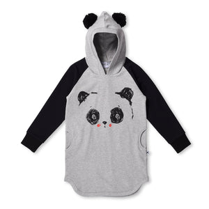 MINTI - LOVEABLE PANDA FURRY HOODIE DRESS - GREY