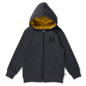 MINTI - DINO REVERSIBLE ZIP UP - MUSTARD/CHARCOAL
