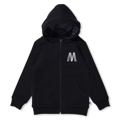 MINTI - MONSTER PARTY REVERSIBLE ZIP UP - MIDNIGHT MARLE/BLACK
