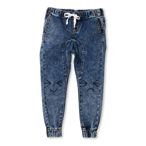 MINTI - EMOTICON DENIM JOGGERS - BLUE WASH
