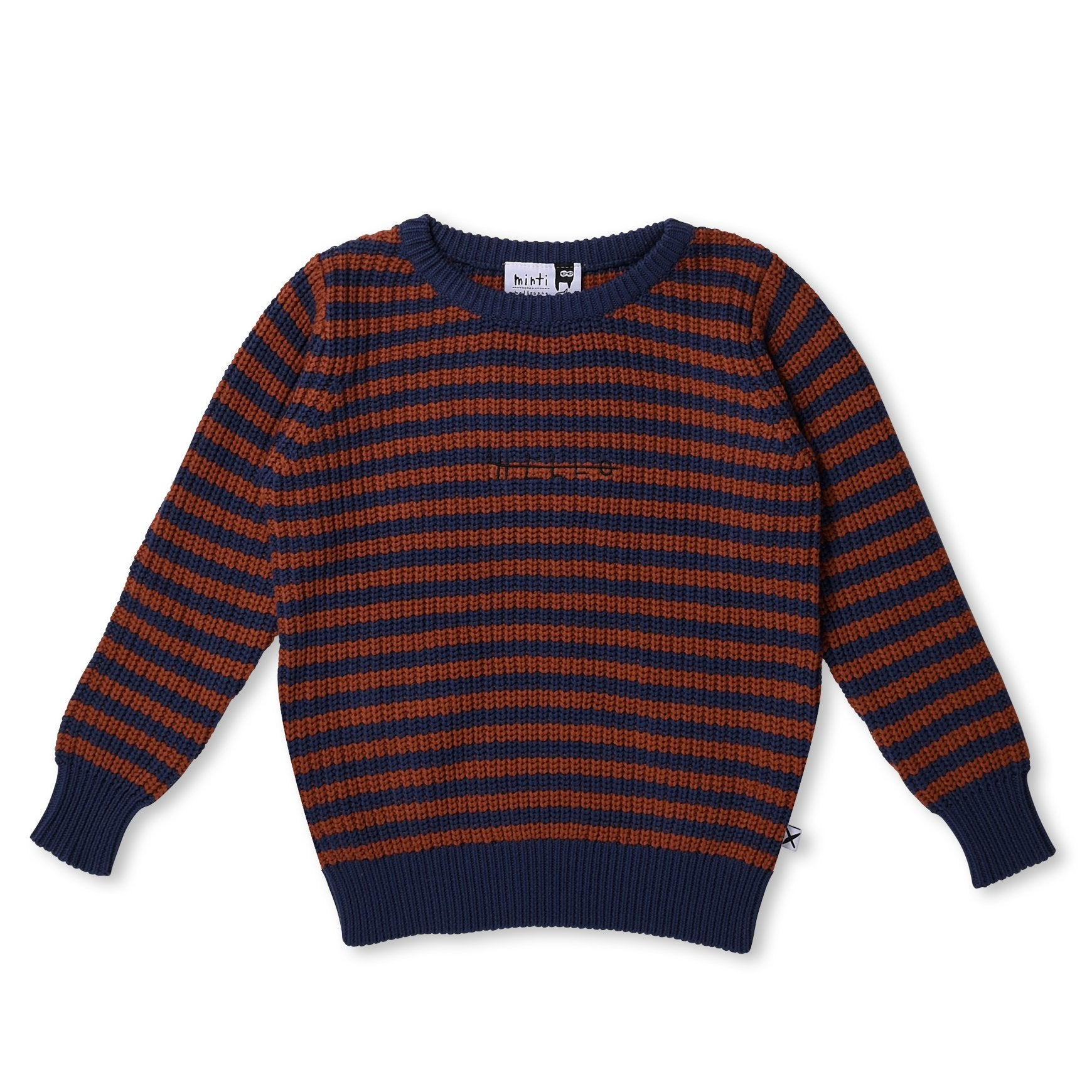 MINTI - CHUNKY KNIT CREW - BLUE/BURNT ORANGE