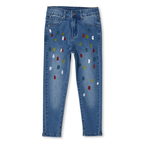 MINTI - PAINT SPOT DENIM JEANS - BLUE DENIM
