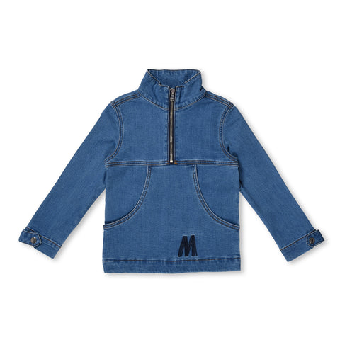 MINTI - MESSY MONSTER ZIPPY DENIM JACKET - BLUE DENIM