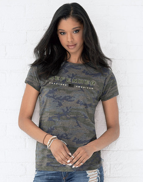 Ladies Camo Fearless American Tee