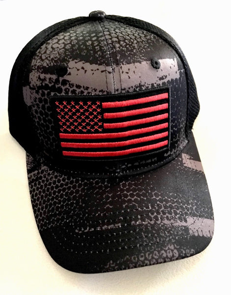 Black Camo Red American Flag Cap