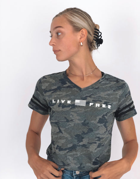 "Ladies V-Neck ""Live Free"" Tee"