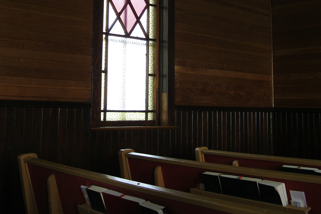 sitting inside church