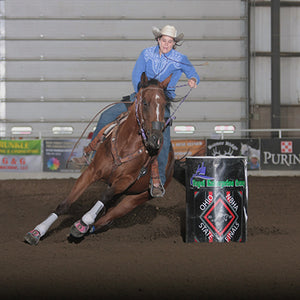 Hillari Combs competing in barrel race