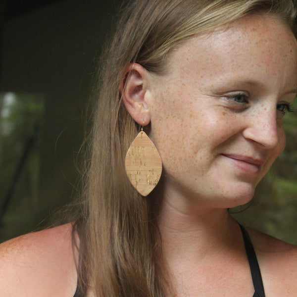 Natural Cork with Gold Petal Earrings