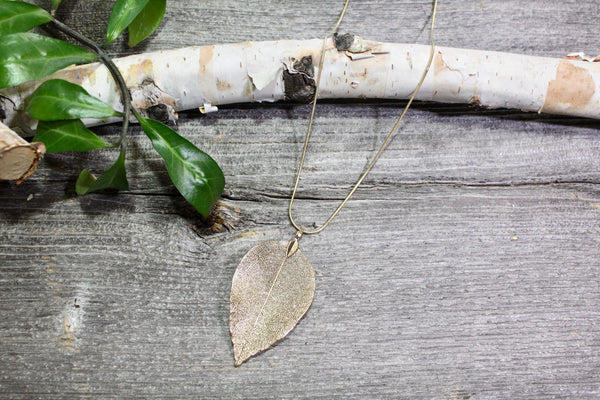 Dipped Leaf Necklace -Gold/Silver