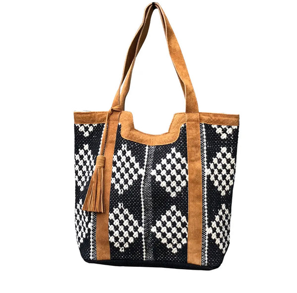 Leather Trimmed Diamond Tote