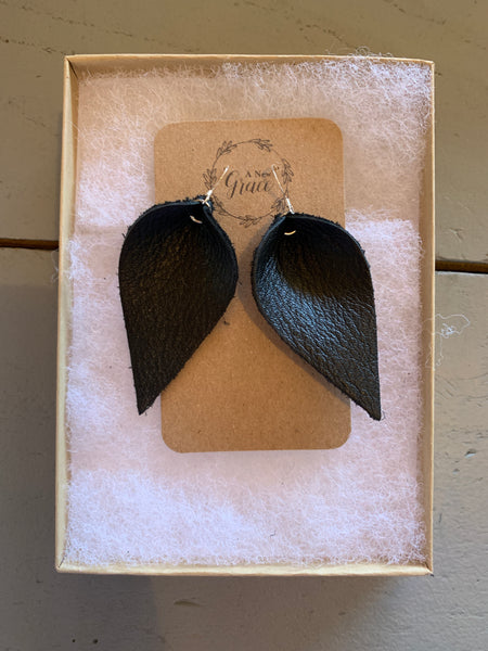 Black LeatherTeardrop Earrings