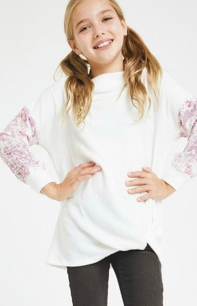 Young Lady- Floral Twist Sweater Boat Neck