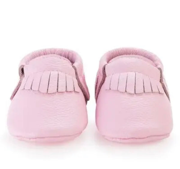 Pre-Order Baby Moccasin - Light Pink Fringe Genuine Leather