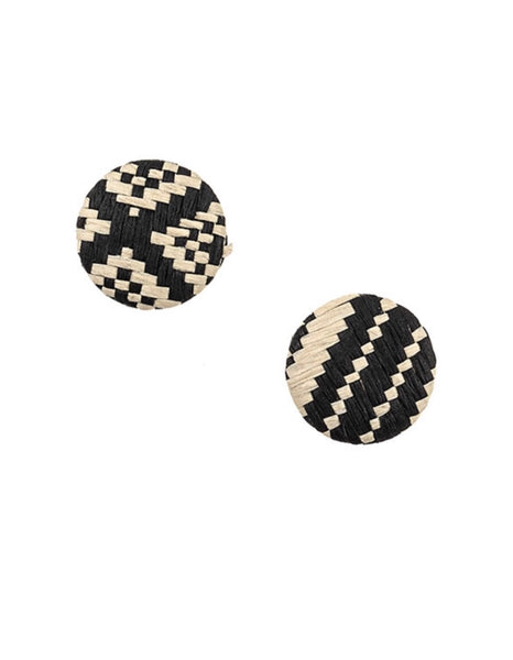 Black & White Woven Post Earrings