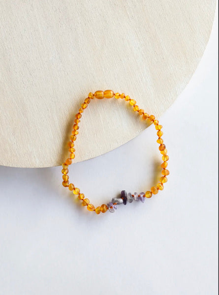 Kids: Raw Honey Amber + Raw Amethyst Necklace 12""