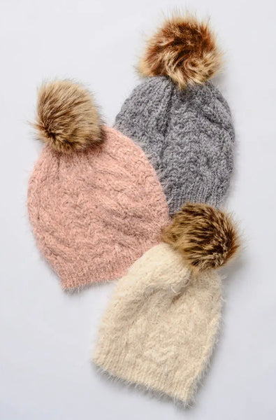 Faux Mohair Cable Knit Pom Pom Beanie