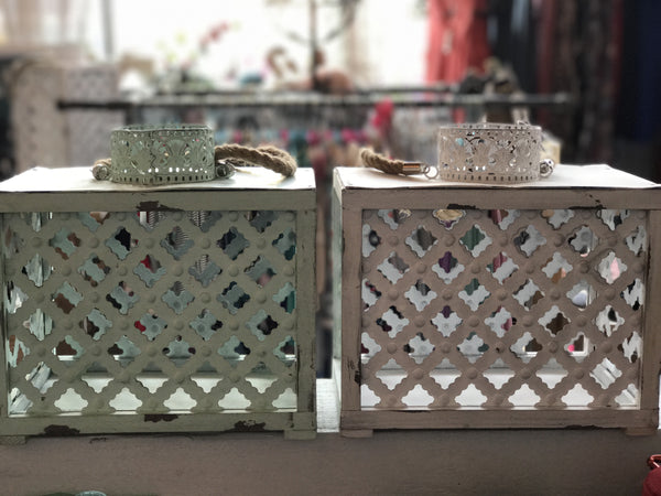 Metal Tall Lattice Lanterns