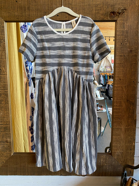 Grey & White Stripe Dress Set