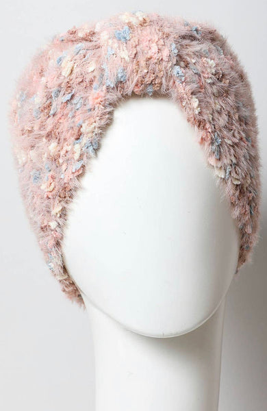Fuzzy Pastel Yarn Knit Headwrap- Rose