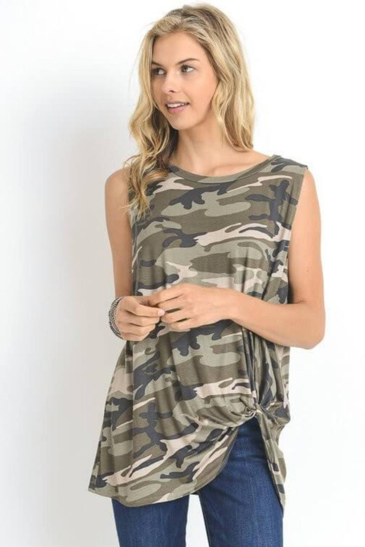 Army Strong Camo Tank Top - features the camouflage print with the twisted knot left hem. It is very light weight- Lucy and Lou Boutique - www.lucyandlou.com