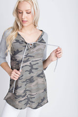 Army Tribe 3/4 Sleeve Tie Up Front Top -A french terry camouflage print with heather grey 3/4 sleeves. Tie up strings detail in the front.- Lucy and Lou Boutique - www.lucyandlou.com