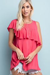Away For Awhile Crinkle Ruffle Tank Top - features a crinkle like fabric and ruffle detail around the shoulder. It is super light weight- Lucy and Lou Boutique - www.lucyandlou.com