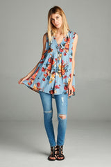 Away We Go Floral Tank Top - Tank Top- Lucy and Lou Boutique - www.lucyandlou.com