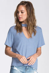 Believe Me Blue Stripe Short Sleeve Top - top is loose fitting, and it sports a mock neck. Has cut out detail at front neck - Lucy and Lou Boutique - www.lucyandlou.com