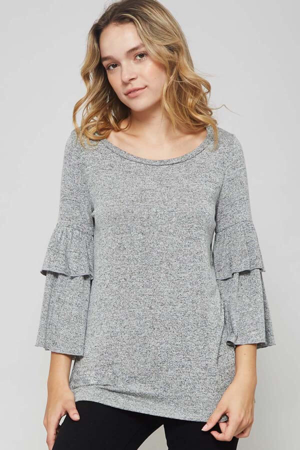 Choose Happy Top - 3/4 Sleeve Top- Lucy and Lou Boutique - www.lucyandlou.com
