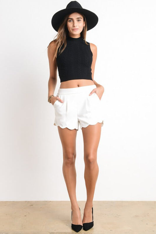 Cory Short - polyester high waisted scalloped bottom edge detail with pleats in front. Elastic back detail making them very comfortable - Lucy and Lou Boutique - www.lucyandlou.com