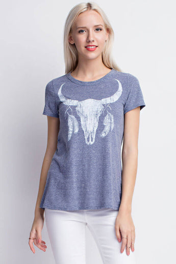 Cow Skull Tee - Short Sleeve Tops- Lucy and Lou Boutique - www.lucyandlou.com