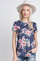 Dare to Dream Floral Short Sleeve Top - Short Sleeve Shirt- Lucy and Lou Boutique - www.lucyandlou.com