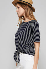 Day At Sea Front Tie Striped Top - Short Sleeve Shirt- Lucy and Lou Boutique - www.lucyandlou.com