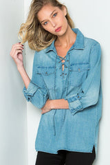 Denim For Days - long sleeve top- Lucy and Lou Boutique - www.lucyandlou.com